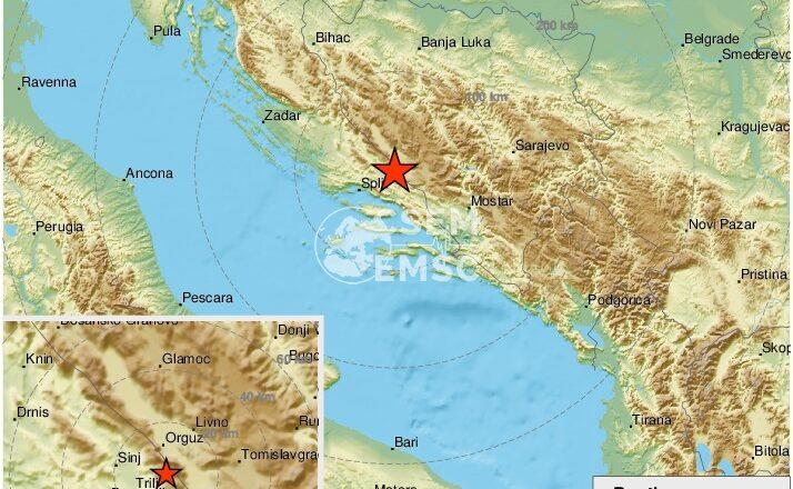 Potres od 4.6 u Dalmaciji. U Trilju se oglasile sirene, ljudi pobjegli na ulice